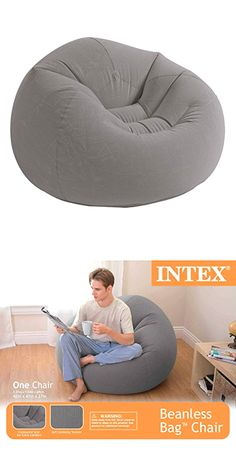 Intex Beanless Bag Inflatable Chair - Beige for sale online Teal Dining Chairs, Dorm Chairs, Small Living Room Chairs, Garden Table And Chairs, Bean Bag Lounge, Bean Bag Chair, Spider Light, Sofa Layout, Living Room Turquoise
