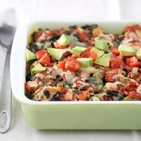 Chicken Taco Casserole - This zesty hot dish has fewer than 200 calories per serving, but you'd never guess it. Chicken, sweet peppers, and spinach are seasoned, baked, and topped with reduced-fat cheese.  196 cal., 6 g fat, 544 mg sodium