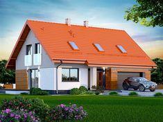 Projekt domu Darlena 143,55 m2 - koszt budowy - EXTRADOM Marsala, House Plans, Garage Doors, Shed, Outdoor Structures, Cabin, House Styles, Outdoor Decor, Home Decor