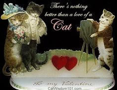 Vintage Valentine Cat Quote