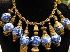 Antique chinese blue willow necklace charm by terrasouljewelry