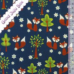 Animal Print Fabric – Summer Sweat - Fox in the Forest - Blue – a unique product by Good-Juju-Box on DaWanda