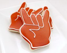 """Hook 'em Cookies!  from sweetsugarbelle.  Check her color mixing chart for UT Burnt Orange.  (Technically the official color is """"Focal Orange"""", says the UT grad w/ a History major)"""