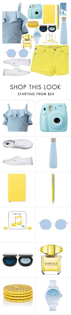 """""""Blue and yellow"""" by blobbytheblobfish ❤ liked on Polyvore featuring Miss Selfridge, Fujifilm, Vans, Kate Spade, Happy Plugs, Versace, Deborah Rhodes and Lacoste"""