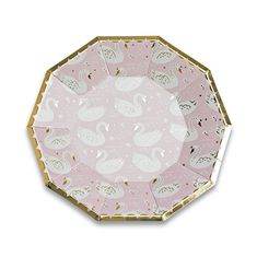 pretty in pink! featuring blush pink and white paired with gold foil-pressed elements, these plates are royally rad. we adore them for a swan princess party! package contains 8 paper plates each plate measures approximately inches from corner to corner Princess Party Supplies, Create A Fairy, Fairytale Party, Winter Wonderland Party, Large Plates, Partys, Pink And Gold, Blush Pink, Paper Plates