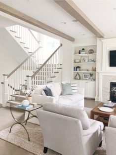 All the details behind our light wood flooring and how we achieved this look! wood Light Wood Floor Stain - How to Get the Look Living Room Sets, Living Room Designs, Living Room Decor, Barn Living, Cottage Living, Floor Stain, Small Space Living, House Design, Interior Design