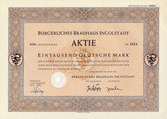 Bürgerliches Brauhaus Aktie 1000 DM 1954