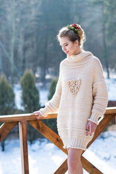 Knitted Dress   Вязаное платье-свитер — Купить, заказать, свитер, платье, вязаный, вязание, шерсть, ручная работа