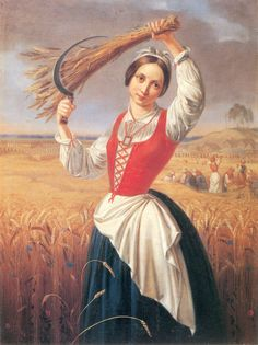 'Girl cutting rye' another painting by Lithuanian romanticizm painter Kanutas… Farmer Painting, Mona Lisa Parody, Mona Lisa Smile, Social Art, Social Media, Oil Painting Reproductions, Romanticism, Art Studies, Lithuania
