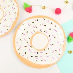 Meri Meri Doughnut Party Paper Plates!  Charming party plates for a celebration where cake is served! Featuring a doughnut with sprinkles in bright colors and embellished with shiny gold foil!  NEW TO MERI MERI?    Prepare to fall in love with this beautiful and unique range of party ware, gifts and children's bags!  Whimsical, vintage inspired and guaranteed to captivate!   Little Boo-Teek - Meri Meri Doughnut Party Plates   Shop Designer Party Supplies   Party Shop Online