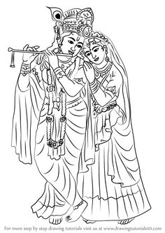 Krishna Radha is a icon in Hindu religion. Both are considered as the Supreme Goddess. Radha Krishna Sketch, Krishna Drawing, Krishna Art, Art Drawings Sketches Simple, Easy Drawings, Indian Art Paintings, Abstract Paintings, Oil Paintings, Fabric Painting