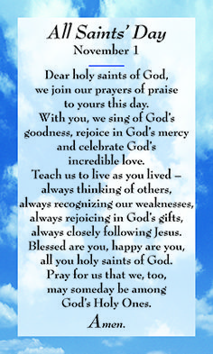 All Saints Day Prayer | All Souls' Day Card 1