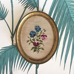 Needlepoint Canvas. Embroidery Canvas. Gold Frame. Embroidery