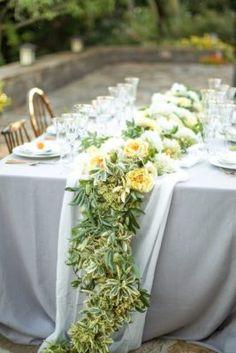 Yellow Flower and Greenery Wedding Reception Centerpiece