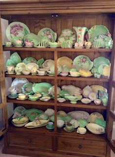 Mostly Carlton Ware, Royal Winton and Shorter and Son Antique China, Vintage China, Vintage Dishes, Vintage Kitchen, China Cabinet Display, China Teapot, Kitchen Dresser, English Country Style, Carlton Ware