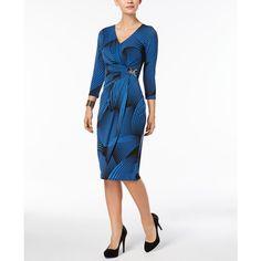 Thalia Sodi Long-Sleeve Wrap Dress, Created for Macy's ($67) ❤ liked on Polyvore featuring dresses, blue linear, white long-sleeve dresses, blue long sleeve dress, faux wrap dress, print wrap dress and blue wrap dress
