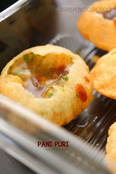 Pani Puri / Gol Gappe Recipe -- Indian Chaat -- I think I would like this a lot more if I made it myself without nasty cilantro! Puri Recipes, Halal Recipes, Indian Food Recipes, Vegetarian Recipes, Snack Recipes, Cooking Recipes, Vegetarian Options, Veg Recipes, Recipies
