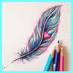 Girly colourful feather and heart tattoo by Mermaid Inc Tattoo #feathertattoo #hearttattoo
