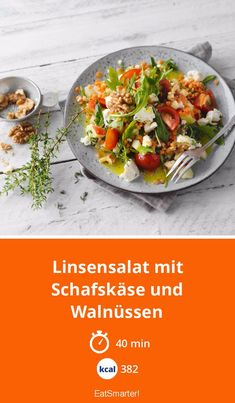 Lentil salad with sheep's cheese and walnuts – smarter – calories: 382 kcal – time: 40 min. Salad Recipes Healthy Vegetarian, Side Salad Recipes, Chicken Salad Recipes, Cooking Recipes For Dinner, Salad Recipes For Dinner, Walnut Chicken Recipe, Clean Eating Salads, Lentil Salad, Easy Salads