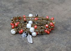 Coral crochet bracelet - bohemian boho chic fresh water pearls & coral, silver charmed hippie rustic beach jewelry