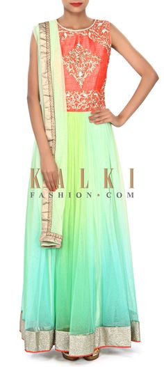 Buy Online from the link below. We ship worldwide (Free Shipping over US$100) Price- $189 Click Anywhere to Tag http://www.kalkifashion.com/shaded-anarkali-suit-in-green-embellished-in-zardosi-and-kundan-embroidery-only-on-kalki.html