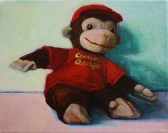 Curious George Stuffed Toy print nursery art by JenHaley on Etsy, $32.00