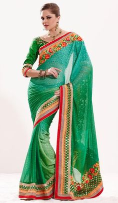 G3 fashions Shaded Green Jacquard Chiffon Embroidered Designer Saree  Product Code : G3-LS11733 Price : INR RS 5592