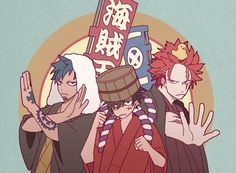 One Piece, Eustass Kid, Trafalgar Law, Monkey D. Luffy