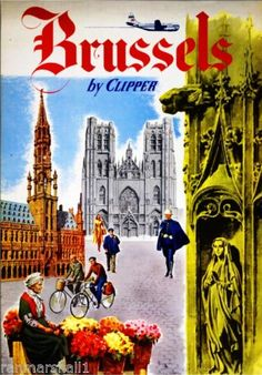 Brussels-by-Clipper-Belgium-European-Vintage-Travel-Art-Advertisement-Poster