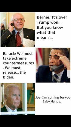 Senator Bernie Sanders, President Barack Obama and Vice-President Joe Biden. Joe And Obama, Obama And Biden, Looks Party, Funny Quotes, Funny Memes, Stupid Memes, Political Memes, Funny Politics, Just For Laughs