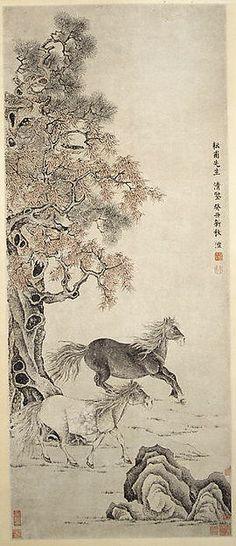 清  雙駿圖  軸<br/>Two Horses