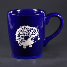 navy blue hedgehog coffee mug
