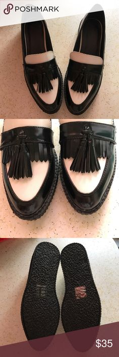 ASOS Black & White Tassel Loafer Shoes Super cute Black and White Tassel Platform Loafers from ASOS! These were a tad too big for me (size 9) so might be good if you're a wide 9 or 9.5. No returns or swaps. Ships within 3-5 days. Thanks for lurking! ASOS Shoes Flats & Loafers