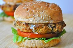 Eggplant Burger. These burgers are savory, filling and addictive. They're packed full of protein and vitamins. Above all else, they are delicious! they are good topped with tahini sauce and they are also fantastic when topped with hummus and dill pickles.