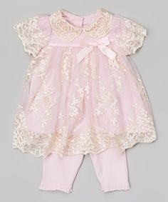 eab293dcb626a Look at this Pink  amp  White Lace Dress  amp  Leggings - Infant on   ·  Cute Little Girls OutfitsKids ...