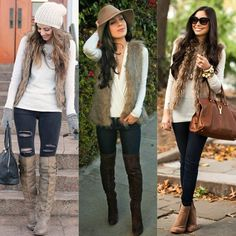 <3 How To Wear A Fur Vest <3  A fur vest is a great layering piece that will keep you cozy without suffocating you, and it's also a nice statement item that will catch the attention of others!  Which of these outfits is your favorite?
