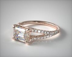 14K Rose Gold Emerald Shape Split Shank Engagement Ring