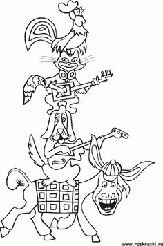 grimm fairy tales coloring pages - the bremen town