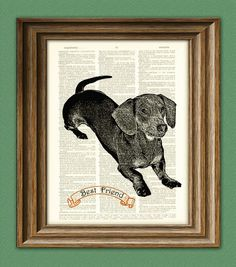 DACHSHUND wiener dog beautifully upcycled vintage dictionary page book art print PERSONALIZED... With 'Le Ru'