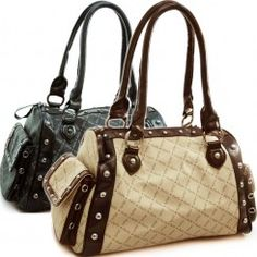 aa814b9e2c99 Designer inspired satchel  fashion duffel bag with 2-tone print (As  Pictured)