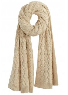 Cable Knit Wool Blend Scarf