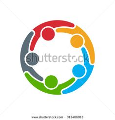 People logo. Group of five persons in circle