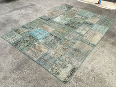 Baby Blue Blue Rug Patchwork Rug Distressed by EclecticRug on Etsy