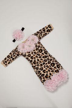 Leopard Newborn Layette Cotton Baby Gown with by MyLolliflopsLLC, $36.00