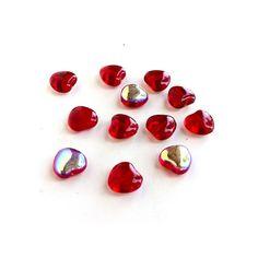 8mm Red Heart Beads Glass Valentine Day Czech by msbijouxbeads