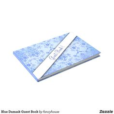 Blue Damask Guest Book