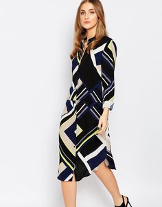 Warehouse+Multi+Stripe+Shirt+Dress