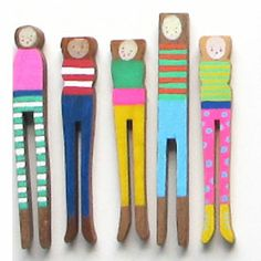 Group of 5 Peg people by artist Carrie Hill