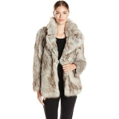 Miss Selfridge Petites Grey Faux Fur Coat (605 RON) ❤ liked on ...