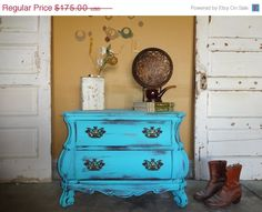 BIG SALE Fat Shabby Chic Turquoise Night Stand / End Table. $157.50, via Etsy.